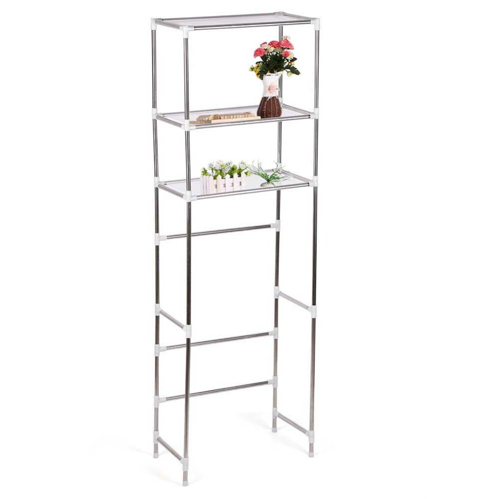 Us 21 89 Stainless Steel 3 Tier Shelf Unit Organizer Le Storage Rack Over Toilet Washing Machine Bathroom In Shelves From