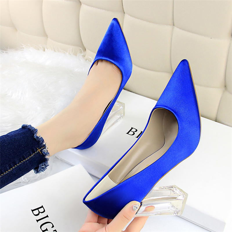 19 Plus Size 43 Women Block 10cm High Heels Lady Scarpins Green Satin Pumps Female Wedding Yellow Blue Silk Transparent Shoes 29