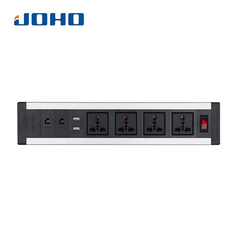 JOHO Desktop Sockets Dual USB 4 Sockets 2 RJ45 Charger Switch 10A/16A for Universal Portable Computers Desktop Data Cable
