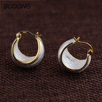BUDONG Real 925 Sterling Silver Hoop Earring for Women Yellow Gold Plated Huggies U Silver Loop Earring Engagement Fine Jewelry