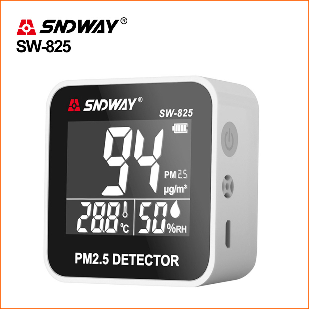 SNDWAY PM 2.5 Monitor Air Quality Monitor PM2.5 Detector Rechargeable Mini Temperature Meter Tumidity Gas Analyzer Gas Detector