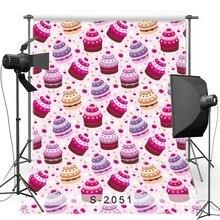 Rosa Festa de Aniversário Bolo Fotografia Vinil pano de Fundo Para Recém-nascidos Novo Tecido de Flanela Pano de Fundo Para Crianças photo studio S2051