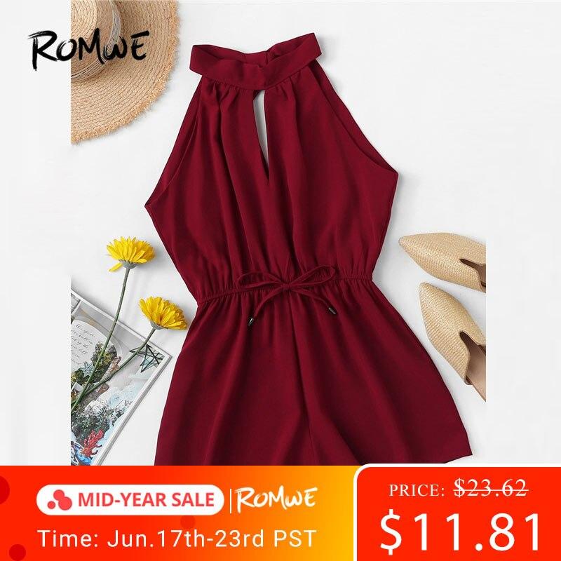 ROMWE Drawstring Waist Knot Back   Jumpsuit   2019 Burgundy Wide Leg Summer Mid Waist Womens Romper Sleeveless Sexy Romper