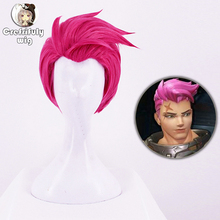 Anime Game Overwatch OW Zarya Rose Pink Short Synthetic Hair Cosplay Wig Heat Resistance Fiber + Cap