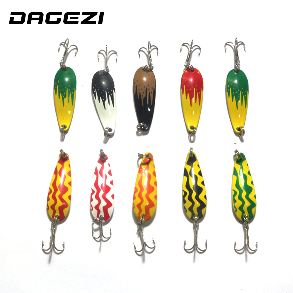 DAGEZI 10pcs/lot colorful Metal Spinner Spoon Fishing Lure Hard Baits Sequins Noise Paillette Treble Hook Tackle 6cm/6g kkwezva 5pcs 6g free shipping spoon fishing lure spoon lure treble hook metal lure for fishing hard bait fly fishing
