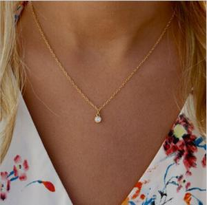 Tenande Punk Small Crystal Necklaces Pendants for Women Simple Style Gold Color Charm Chain Necklaces Party Jewelry Femme Colar