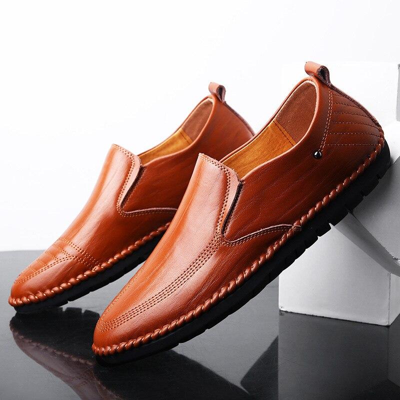 Conduite chocolat Plat Autumm Sur jaune Pour Classics Hommes Mocassins Glissement Chaussures Printemps Noir Casual Solide AnqT4Pw