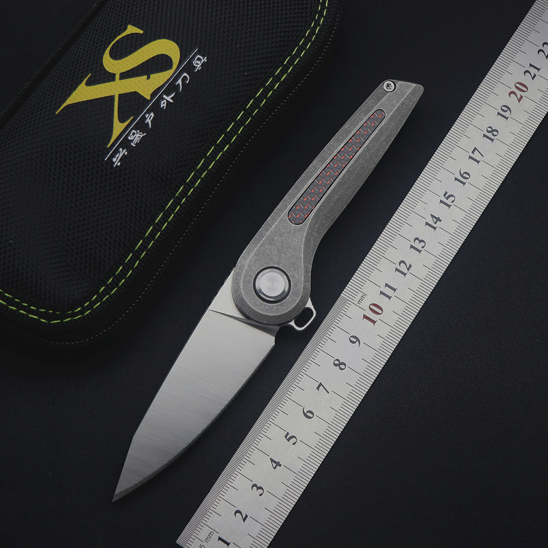 TS79 flip folding knife ball bearing D2 blade titanium + carbon fiber handle outdoor camping multi purpose hunting EDC tool-in Knives from Tools    1