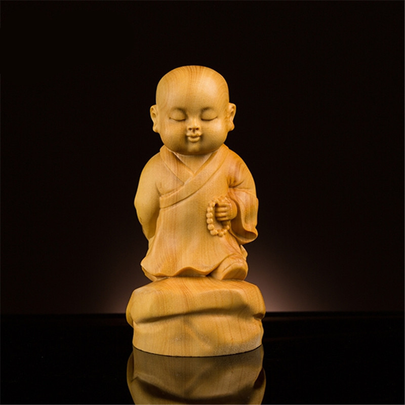 Creative Handmade Exquisite Carving Boxwood Craft Buddhist Suppliers Little Monk Buddha Handle Pieces Pocket Decorations