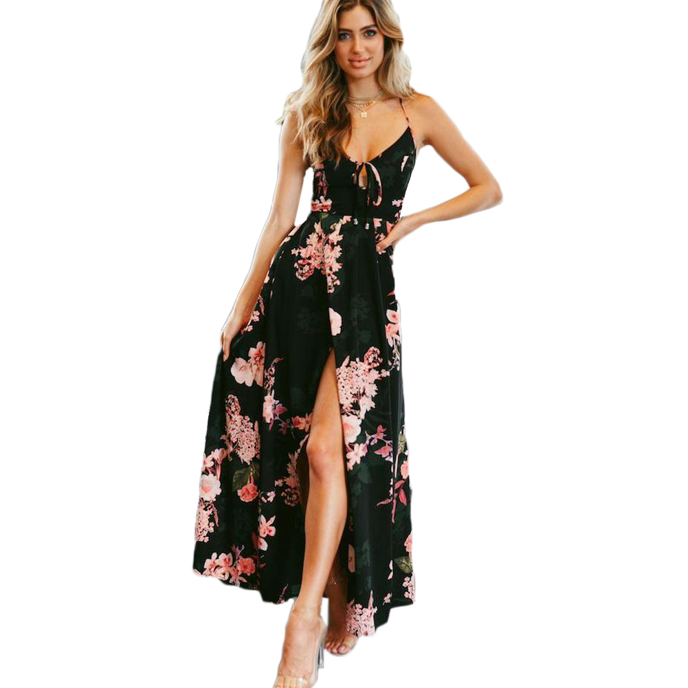 fa84a395e5493 US $14.71 30% OFF|robe femme Summer Dress Women Floral Print Boho Dress V  Neck Sleeveless Spaghetti Strap Backless Side Split Sexy Long Maxi Dress-in  ...