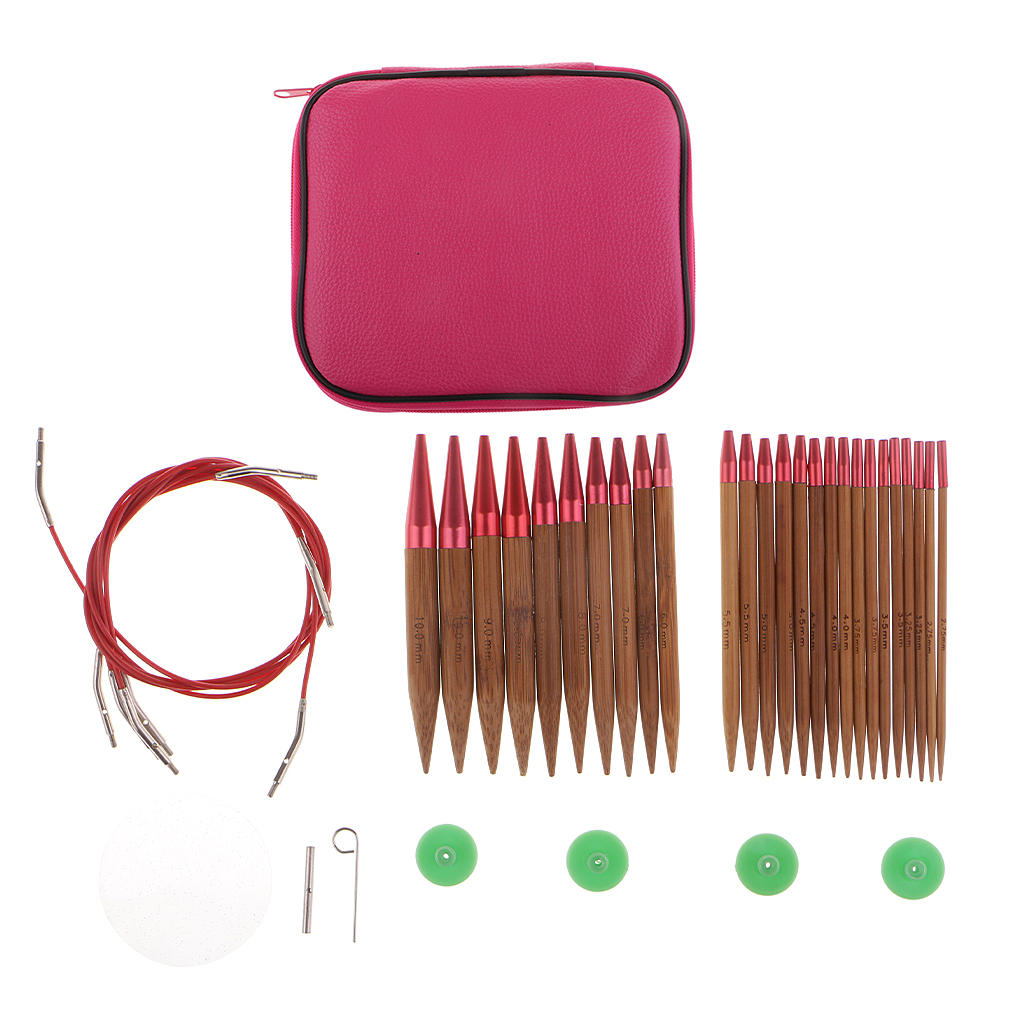 13 Sizes Interchangeable Carbonized Bamboo Circular Knitting Needles Sets