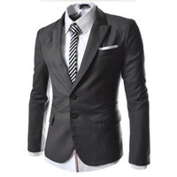 New Design Men Slim Fit Suit Jacket Mens Two Buttons Business Dress Suits pure Colors Single-Breasted Blazer custom
