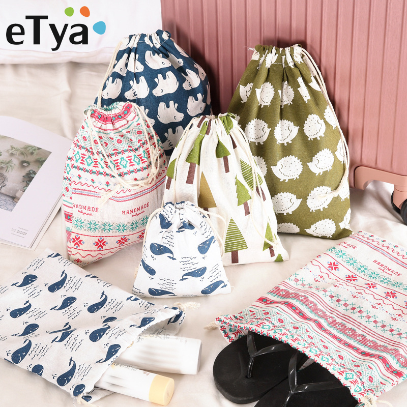 ETya Korea Drawstring Cosmetic Bag Travel Women Multifunction Clothes Shoes Toiletries Cotton Linen Makeup Bags Storage Pouch