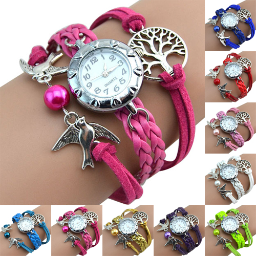 Hot More Colors Vintage Women's Watch Life Tree Birds Charm Leather Plaited Bracelet Watches NO181 5UVC