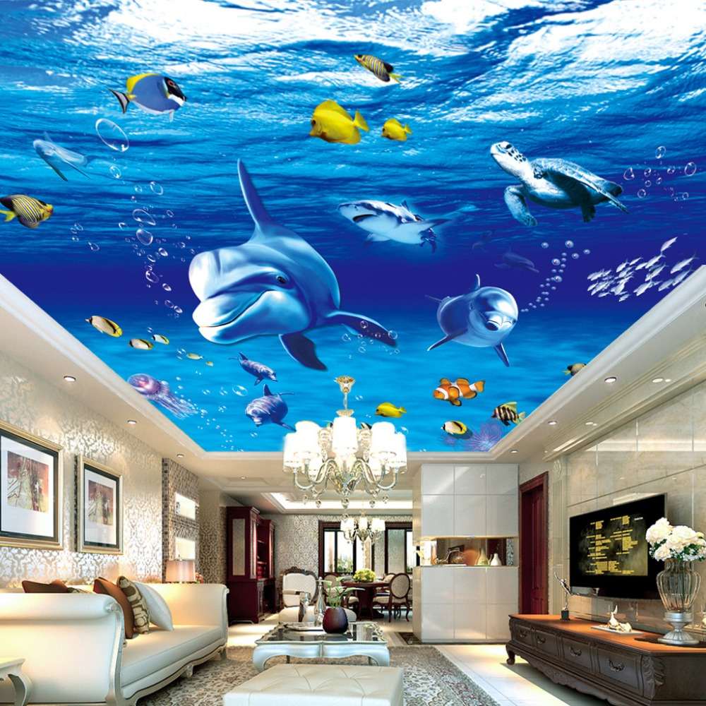 Custom 3D Photo Wall Paper Dolphin Fish Suspended Ceilings ...