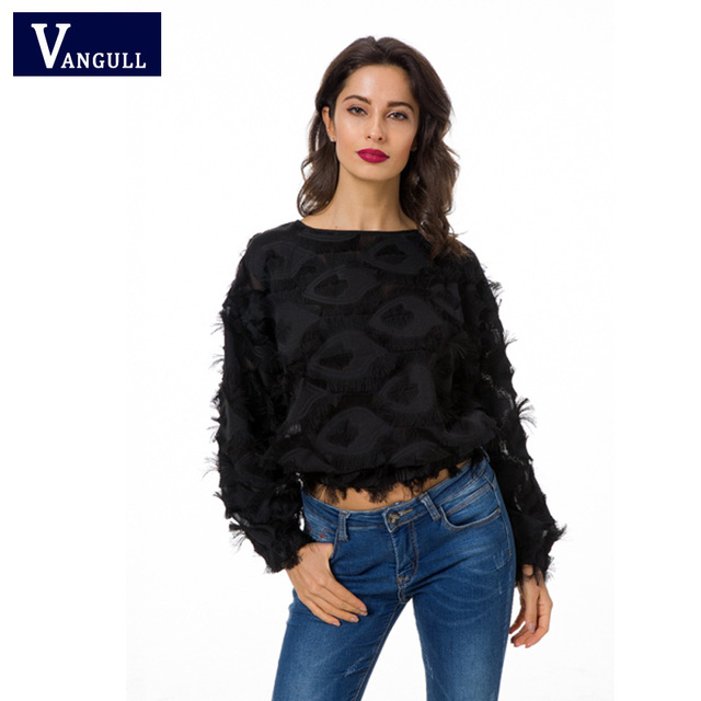 Vangull Fringe Patch Mesh Top Sexy Spring Autumn Womens Tops and Blouses Black  Long Sleeve Round Neck Elegant Womens Tops e9685f297f7c