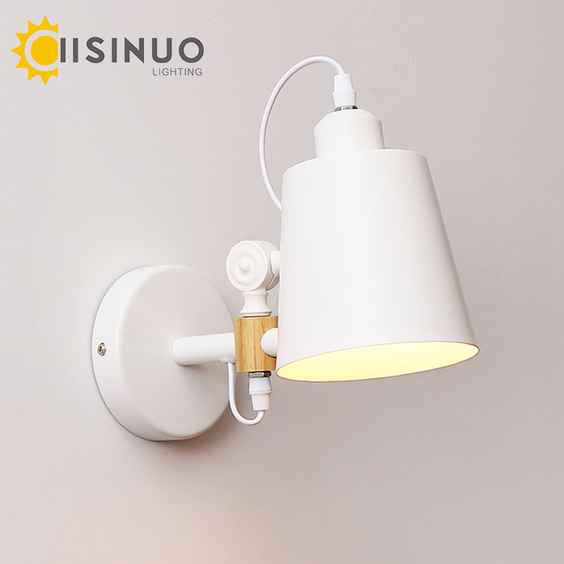 Modern iron & wood adjustable swing arm reading wall lamps Loft Style Industrial Lights E27 sconce for workroom bedroom bar cafe modern wall lamp adjustable arm bedside reading lamp e27 wood iron wall lighting bedroom lights high quality wwl014