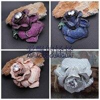 Excellent !! Cz Pave Rose Flower Brooch
