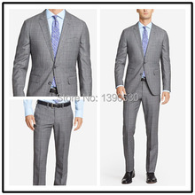 Top Quality 100% wool custom made Grey Plaid notch lapel double vent two buttons two piece modern suits for men!!