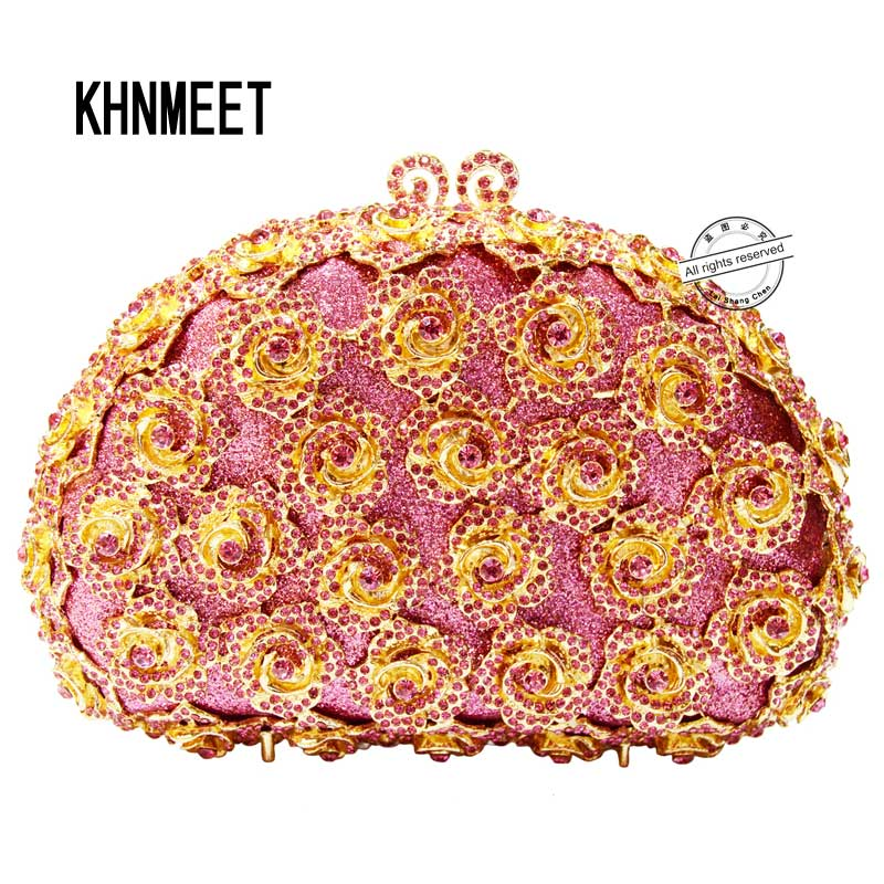 LaiSC pink evening clutch bags rose flower shape luxury diamante clutch evening bags studded crystal wedding party purse SC174 laisc handmade women handbag green diamante evening bag crystal clutch purse rose flower hollow out mini party wedding bag sc230