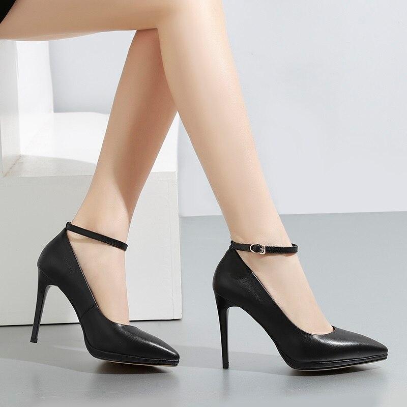 Pompes Talons Dames buckle Black Profonde Mode 10 Cm Bout Femmes Sexy 2019 Pour En Zvq Nouvelle Cuir Black Chaussures Pointu Noir Mince on Slip Peu Printemps Véritable q1ZnWPH