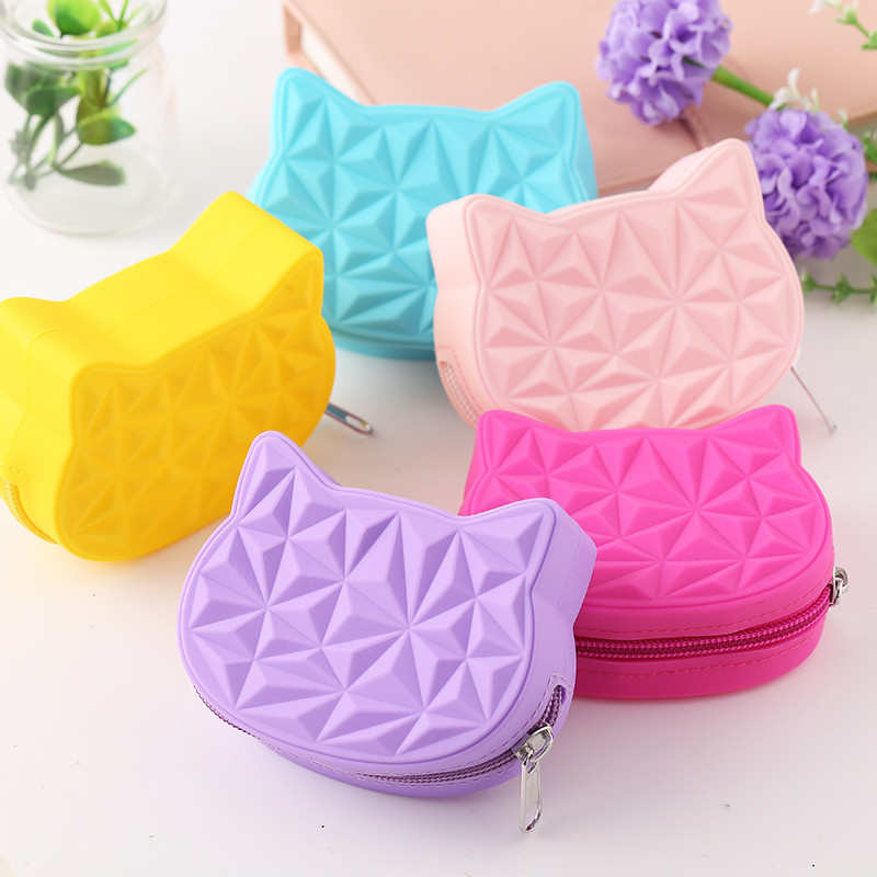 2019 New Brand Cute Cat Women Silicone Short Wallet Girls Mini Coin Purse Key Wallet For Female Daily Clutch Purse Headset Bags
