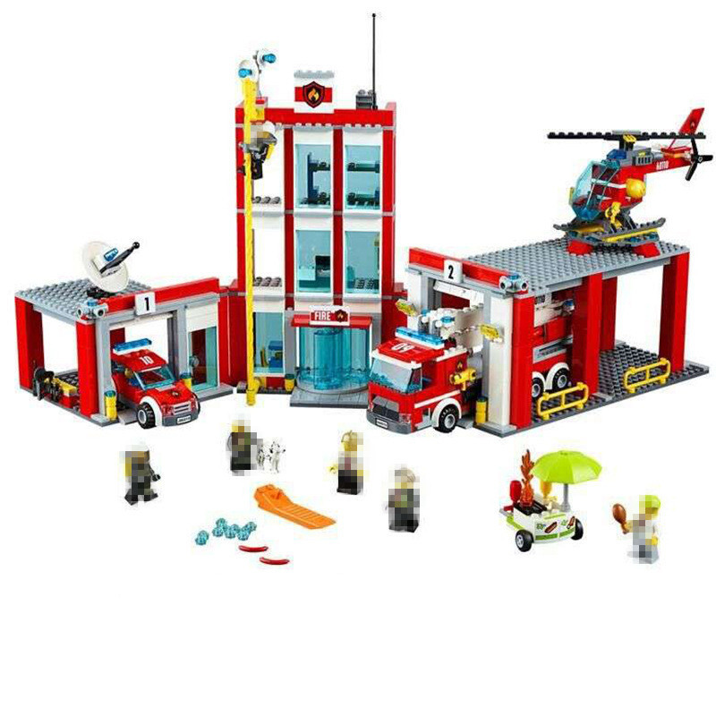 Lepin 02052 1029pcs City Fire Station Building Block Brick Educational DIY Toys for Children Compatible With 60110 Gifts gudi 9217 874pcs city fire station helicopter firemen building block diy educational toys for children compatible legoe