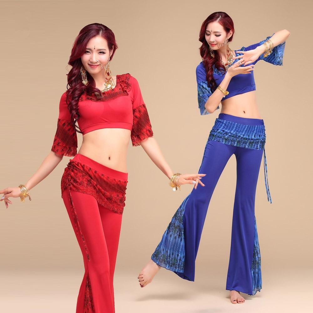 d754462ecd0d2c Nowy styl peacock wzór belly dance set kobiety indian taniec ubrania  kostium bellydance 2 sztuk krótki rękaw i spodnie 4 kolory