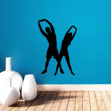 Removable Sport Life Style Wall Sticker Man And Woman Warm-Up Exercise Fitness Wall Sticker Home Decor Vinyl Art Wallpaper Y-547