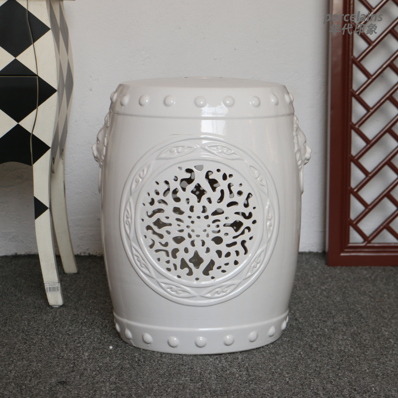 Chinese lattice ceramic garden stool H18inches with lion decoration