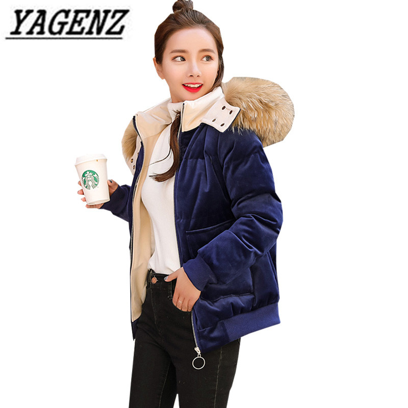 Gold Velvet Down cotton jacket women coat Korean 2018 new big collars r hooded cotton outerwear warm winter female jacket Parkas 2016 winter korean star style fashion long down padded jacket women slim hooded coat with big pocket cotton warm parkas ja014 page 8