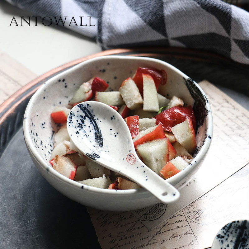 ANTOWALL Chinese style ceramic small rice bowl breakfast ...
