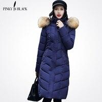 Pinky É Preto 2017 mulheres jaqueta de inverno parkas longo casaco espessamento fêmea grande gola de pele roupas quentes bolsos do casaco de inverno