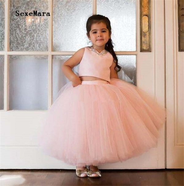 New Two Pieces Pink Tulle Girls Dresses Mother Daughter Gown Beaded O Neck Girls Pageant Dress Birthday Gown Custom Made SizeNew Two Pieces Pink Tulle Girls Dresses Mother Daughter Gown Beaded O Neck Girls Pageant Dress Birthday Gown Custom Made Size