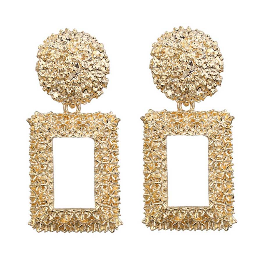 CUTEECO 2019 Fine Gold Geometric Earrings For Women Rectangular Design Drop Female Long Earrings Jewelry Gift in Drop Earrings from Jewelry Accessories