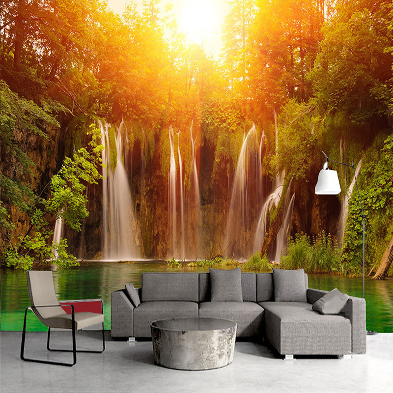 Custom 3D Wall Mural Photo Wallpapers Modern Living Room Sofa TV Background Art Painting Sunshine Forest Waterfall 3D Wall Paper wallpaper for walls 3 d modern trdimensional geometry 4d tv background wall paper roll silver gray wallpapers for living room
