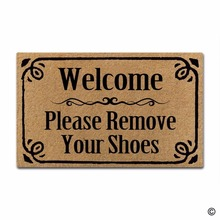 Rubber Doormat For Entrance Door Floor Mat Welcome Please Remove Your Shoes Non-slip 30 inch by 18 Machine Washable