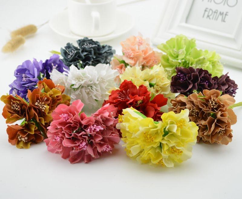 6pcs Carnation silk cheap Artificial Flowers scrapbooking For wedding decoration handicraft DIY Gift box fake flower head wreath