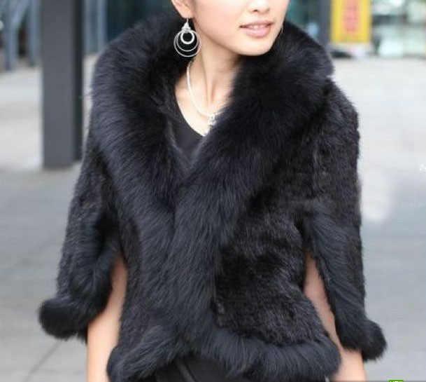 送料無料新しい本物のニットミンクの毛皮のショールラップ岬フォックス毛皮の襟女性ミンク毛皮のコート卸売小売tf0137