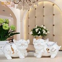 Керамическая декоративный Белый Свинья домашнего интерьера гостиной ТВ Открытие кабинета новоселье подарок украшения