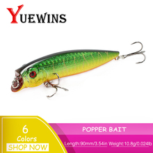 Купить с кэшбэком YUEWINS Popper Fishing Lure isca artificial Lure 9cm 10.8g Crankbait Floating Wobblers Fish bait Carp Pesca Fishing Tackle TP225