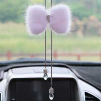 Car Pendants Crystal Mink Fur Bowknot Decoration Charms Automobiles Rearview Mirror Hanging Dangle Ornaments Accessories Gifts