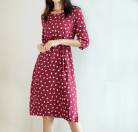 New mulberry silk printing round collar with long skirt Love wave point seven split sleeve true silk dress woman
