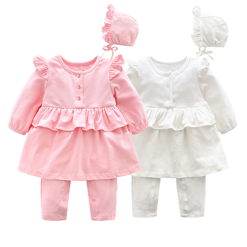 Newborn Baby Clothes 2 Pcs Romper Lovely Girl Baby Dress Rompers Baby Boy Set Long Sleeve Baby Girl Outfits  Jumpsuits Clothes new arrival newborn baby boy clothes long sleeve baby boys girl romper cotton infant baby rompers jumpsuits baby clothing set