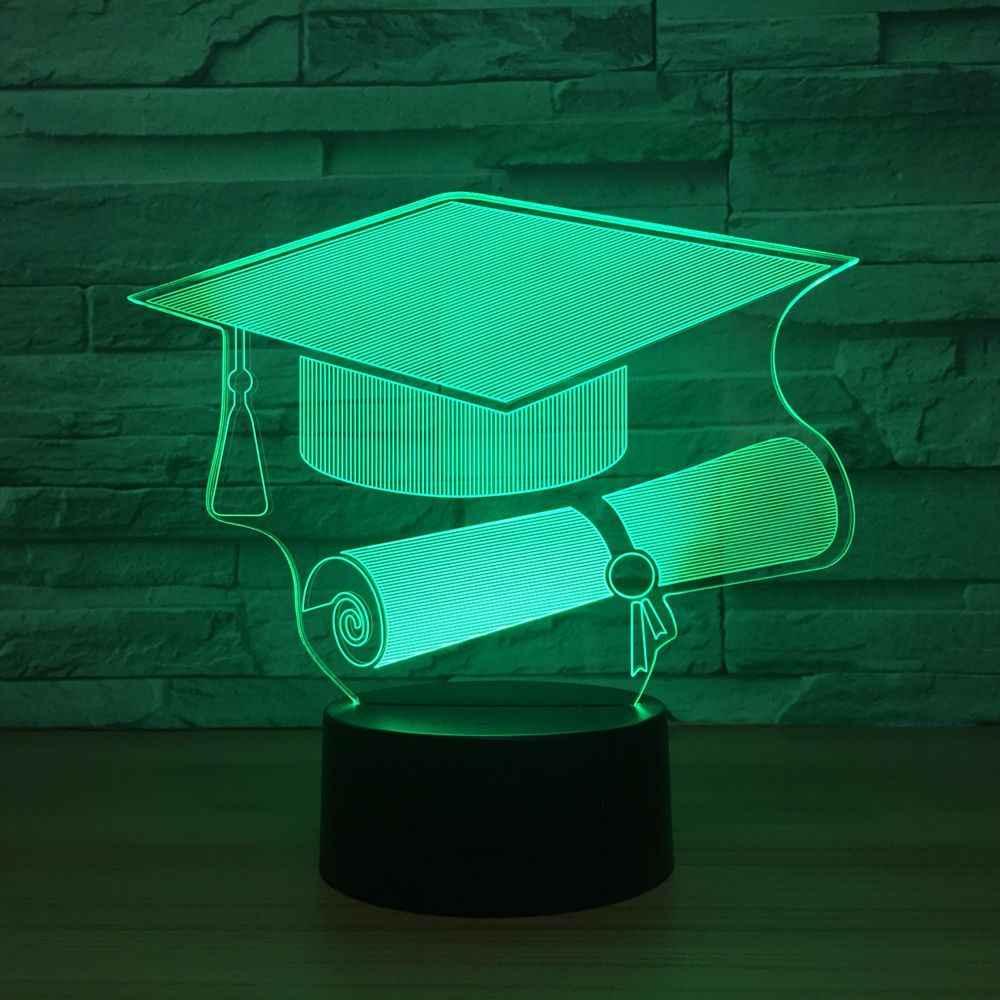 Trencherหมวกรูปร่างLED 3Dไฟกลางคืน7สีเปลี่ยนสีอารมณ์โคมไฟUSBระยะไกลโคมไฟสัมผัสสำหรับเด็กคริสต์มาสของขวัญ