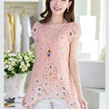 Elegant Summer Women Floral Print Long Tops Asymmetric Hem Chiffon Blouse Tee Shirt Plus Size M-XXXL ,X1004