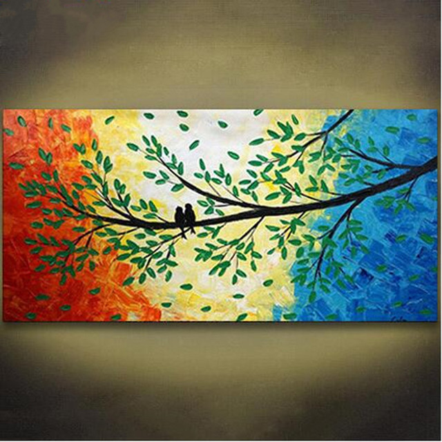 Colorful Canvas Pictures Hand Painted Acrylic Paintings Abstract Birds Tree Landscape Oil Painting Modern Home Decor & Colorful Canvas Pictures Hand Painted Acrylic Paintings Abstract ...