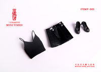 Mini Times Toys 1/6 Scale Female Black Sexy Leather Skirt Vest and Shoes Models Accessories for 12inch Action Figures Bodies