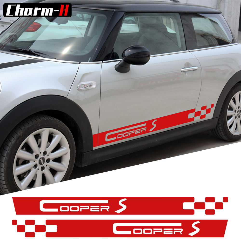 все цены на Pair of  Door Side Decals for MINI COOPER S Racing Stripes Clubman R55 F54 Works JCW Graphic Decal Stickers - 4 colors to choose онлайн
