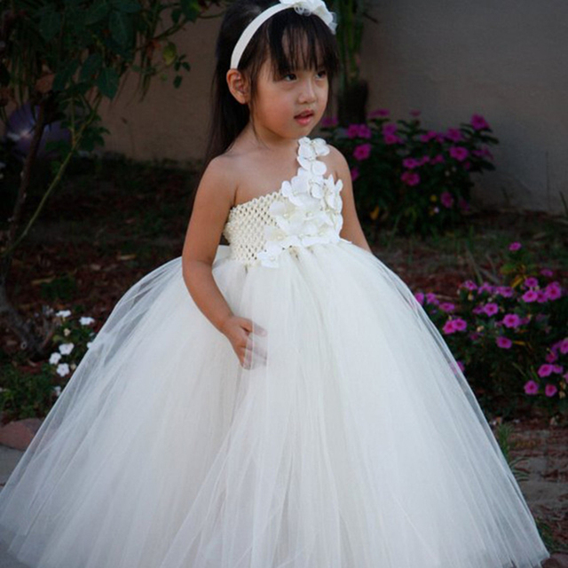 5 Color Flower wedding Party Dress For Girls with Headband Flower Tutu Dress For Birthday Photo props Pageants PT76